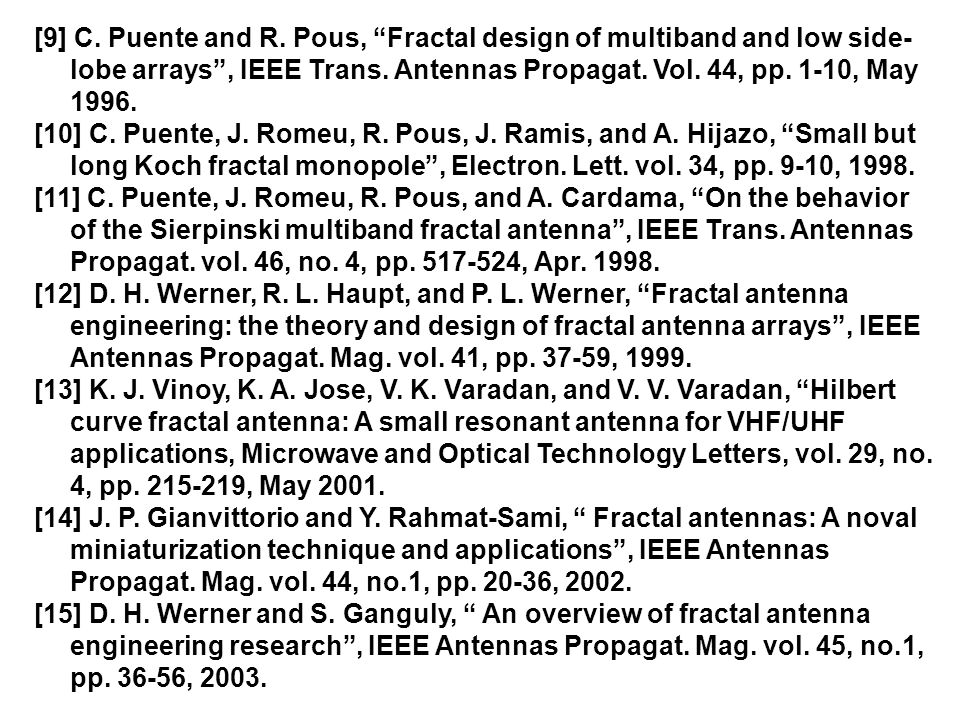 [9] C. Puente and R. Pous, Fractal design of multiband and low side-lobe arrays , IEEE Trans. Antennas Propagat. Vol. 44, pp. 1-10, May 1996.